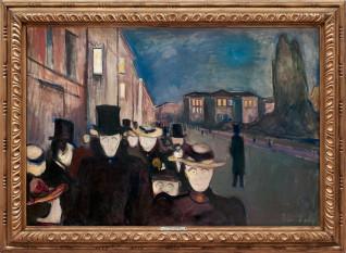 Aften på Karl Johan, 1892 ©Munch-museet/Munch-Ellingsen gruppen/BONO Foto: © Bergen Kunstmuseum/Dag Fosse