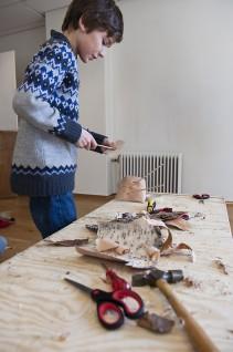 Workshop, Vindusgalleriet, Nasjonalmuseet 2011. 5. klasse ved Ila skole, Oslo. Foto: Nasjonalmuseet