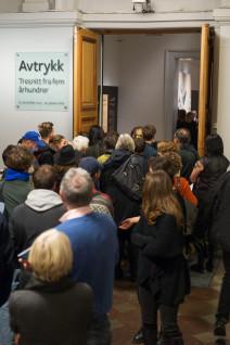 Fra åpning av utstillingen Avtrykk. Tresnitt fra fem århundrer. Foto: Børre Høstland, Nasjonalmuseet