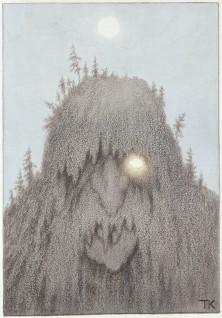 """Theodor Kittelsen, """"Skogtroll"""", antagelig 1906, Omslagstegning i P.Chr. Asbjørnsen, Illustrerede Eventyr. Ny samling, Kristiania 1907"""