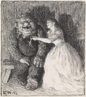 """Werenskiold, Erik, Illustrasjon til """"Følgesvennen"""" i P. Chr. Asbjørnsen, Eventyrbog for Børn. Norske Folkeeventyr, København 1887"""
