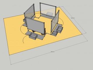 Utstillingskomponenter. Tegning: Nasjonalmuseet
