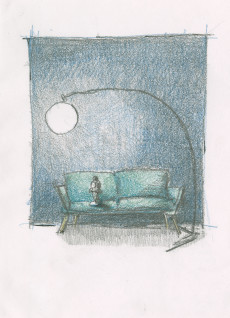 """Foto: Kine Liholms skisse til utstillingsdesign for kommende vandreutstilling """"Gustav Vigeland. Angsten står i sofaen""""."""